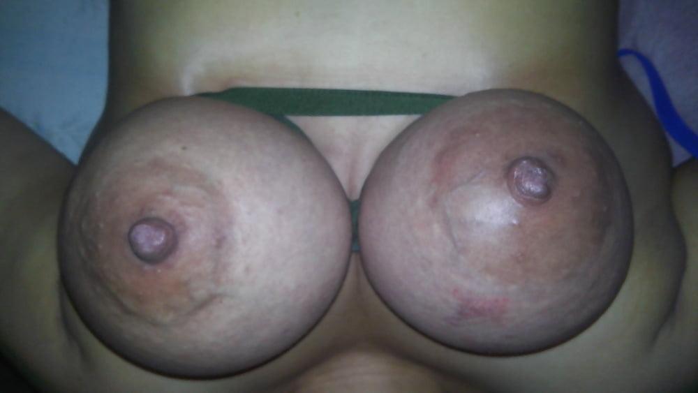 Beautiful swollen nipple close