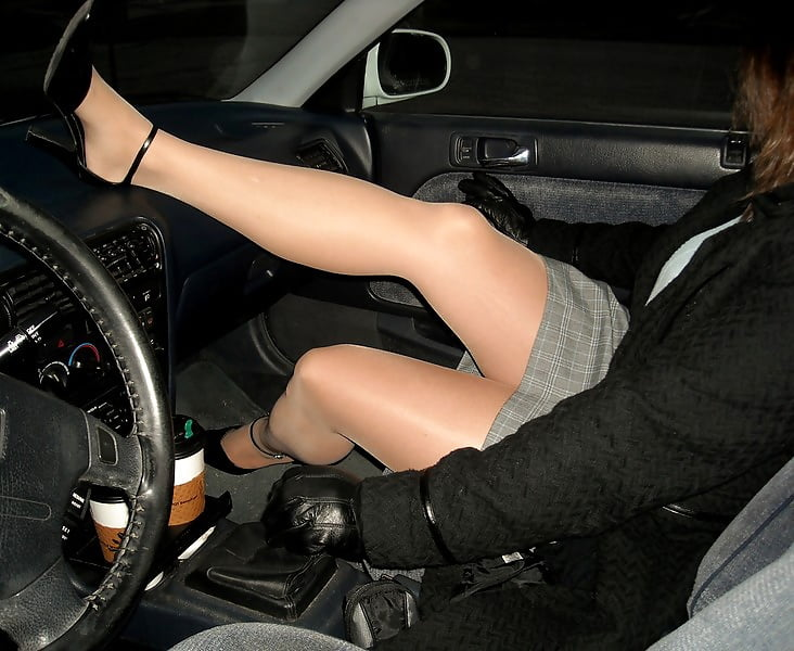 Upskirt in car porn