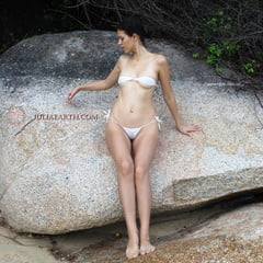 Part 1. Julia V Earth In White Bikini At The Beach.