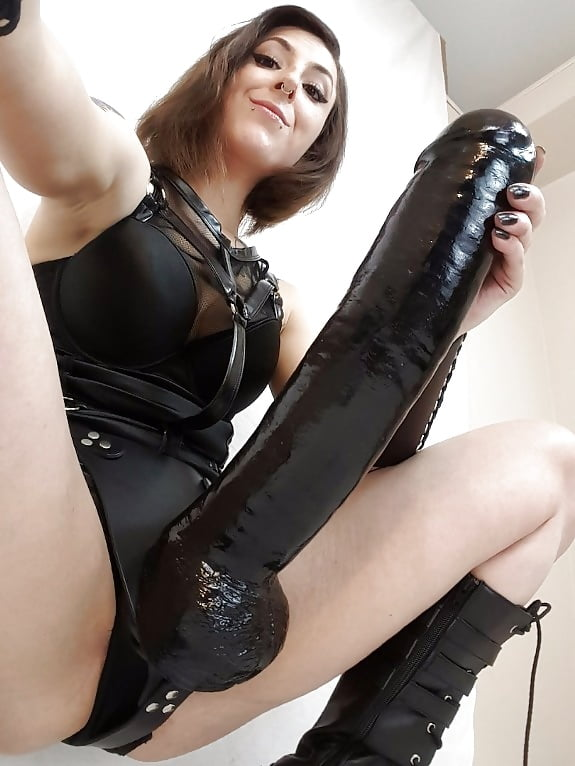 Latex Alice March Stroking  Haired Dildo Feet 1