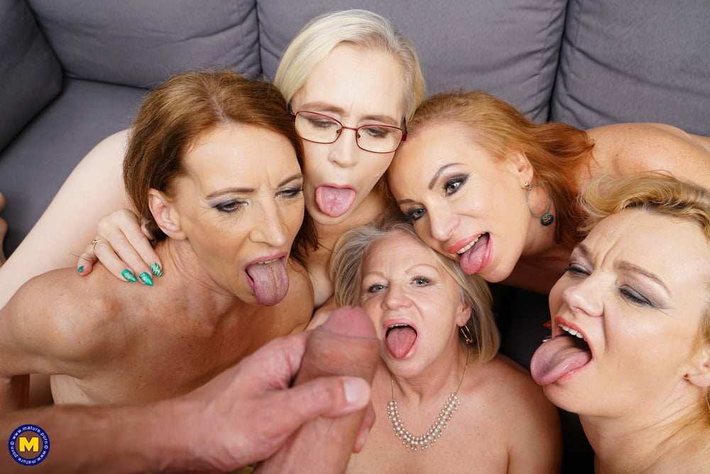 5 grannies sharing one lucky young guy