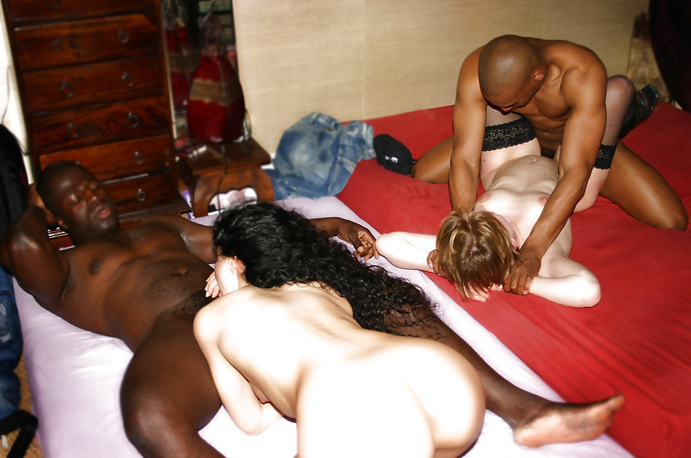 Swingers arranged interracial orgy with double penetration