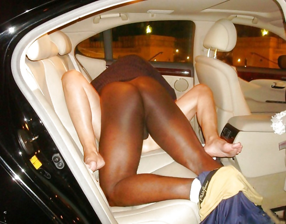 White guy fucks black girl in car #2