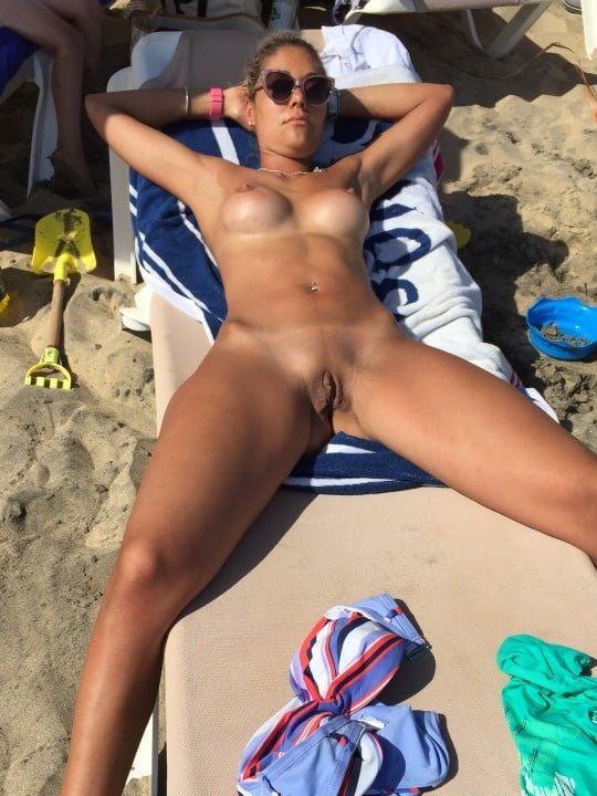 Beach nude spread eagle 2
