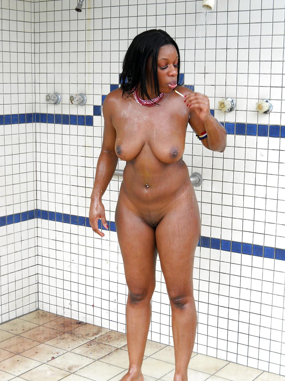 Naked black girls covered in soap