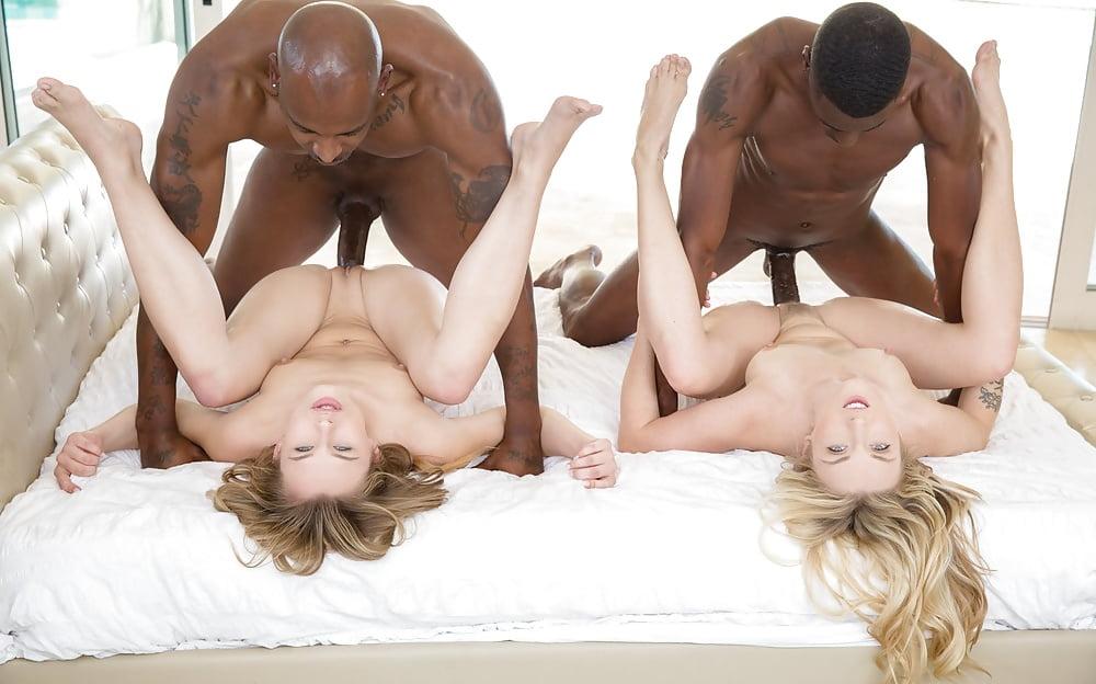 Black on white threesome, sexy naked hurses