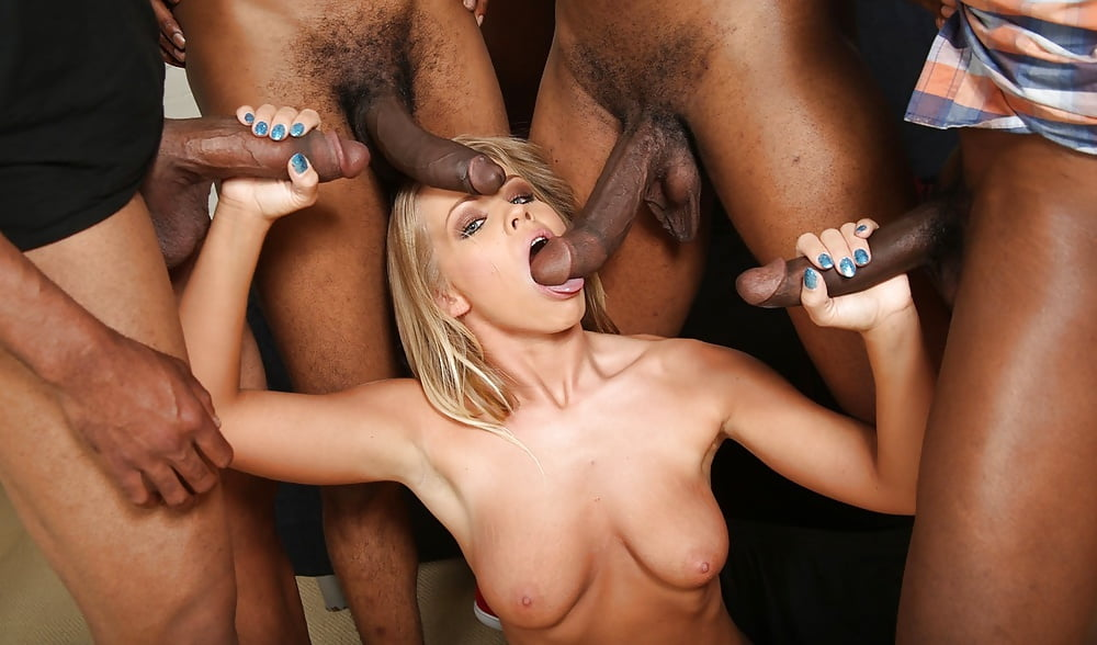Black gang forces girl to suck, pussy rubbing on pole