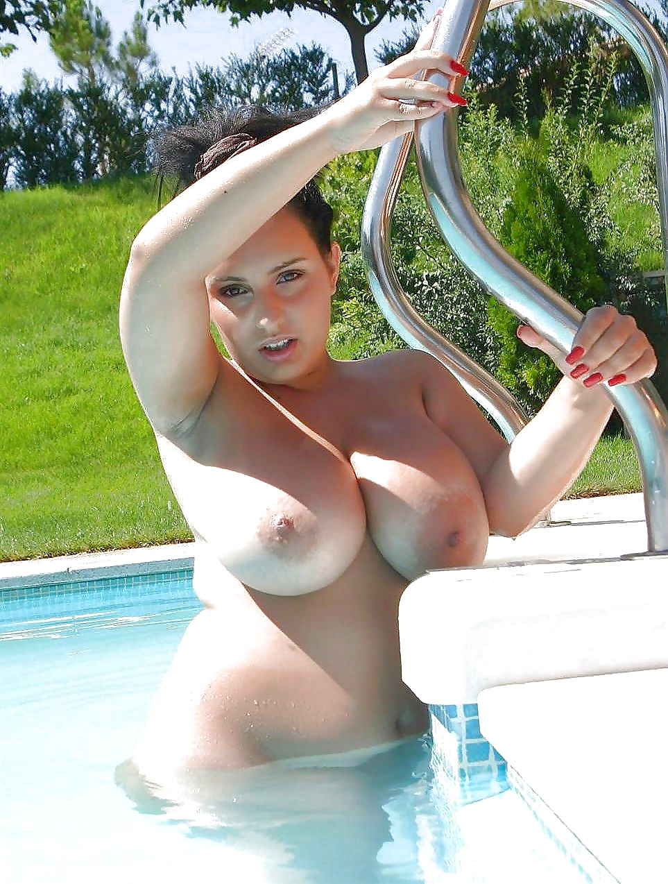Teen With Incredible Big Boobs On Edge Of Swimming Pool Cast