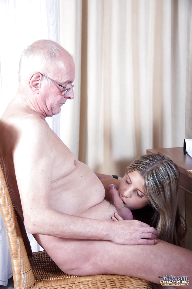 Sexy girl sucking off old man 12