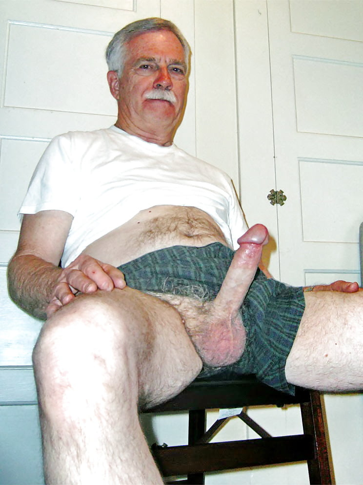 What does a old man hard cock look like