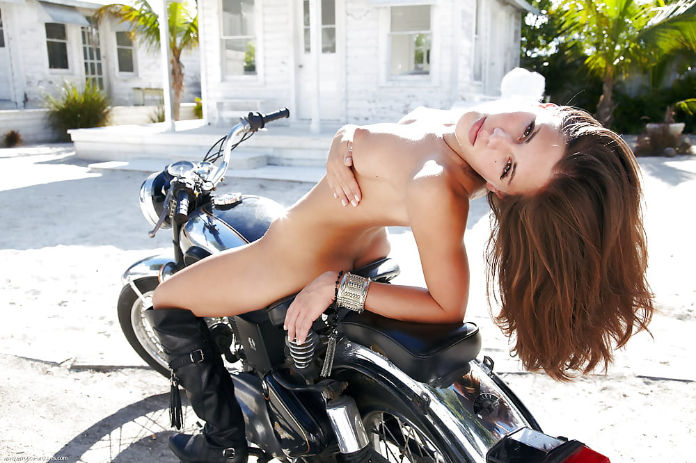 Naked butt on a motorcycle