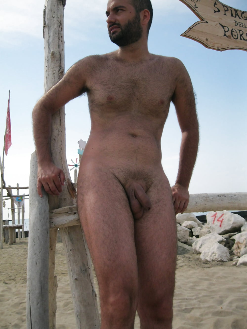 Naked hairy male nudists