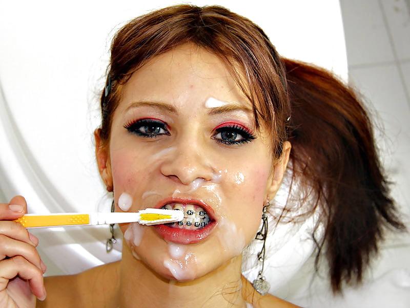 Чистка зубов спермой фото
