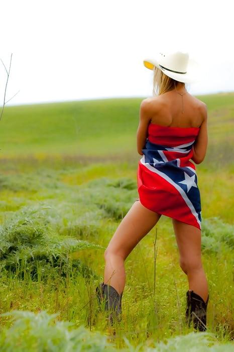 Sexy hot american rebel flag girl american pride stock photo