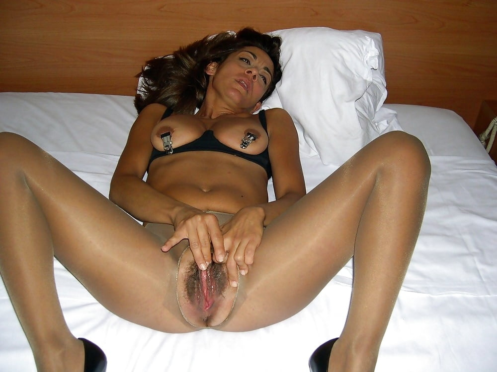 Horny brunette milf slut loves a big black dick inside her