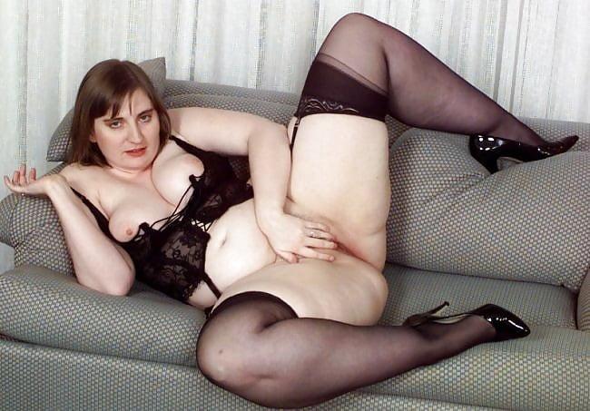 Mature Bbw Milf Cindy, Black Lingerie  Stockings Tease -8017