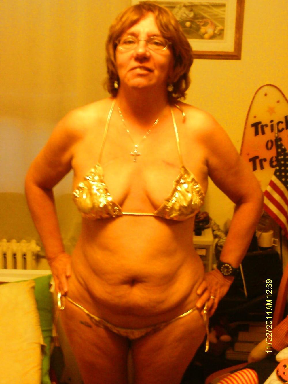 White and gold bikini