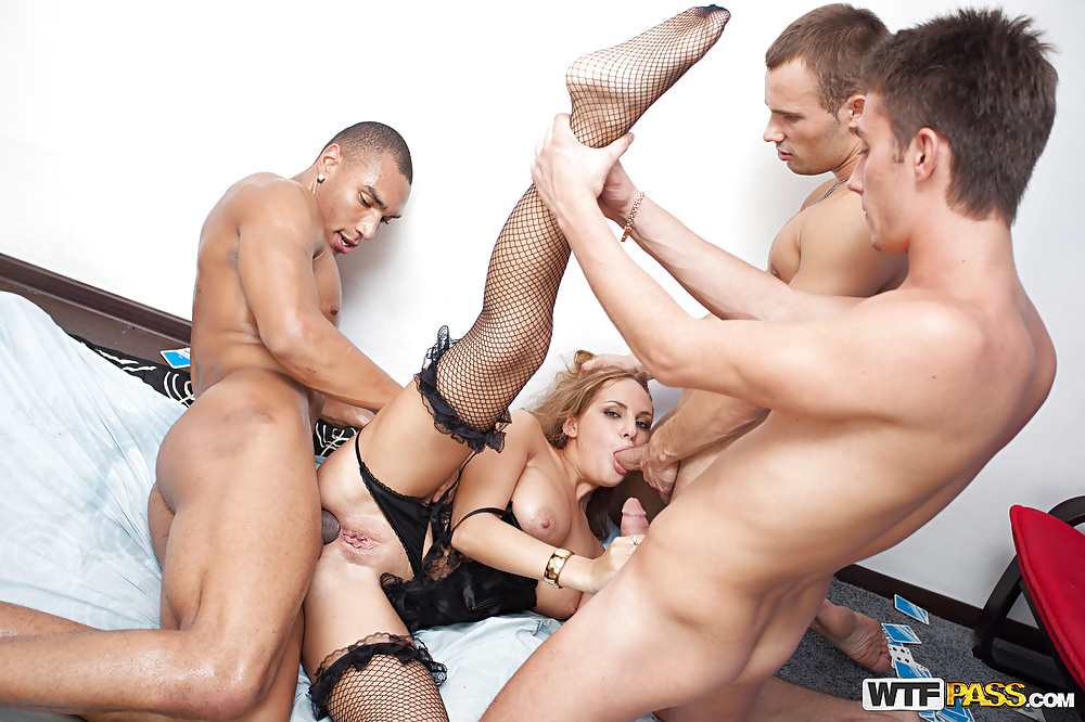 Three guys fucking one girl