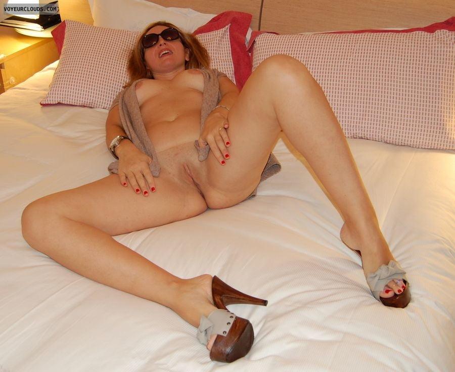 Nude wife in heels #4