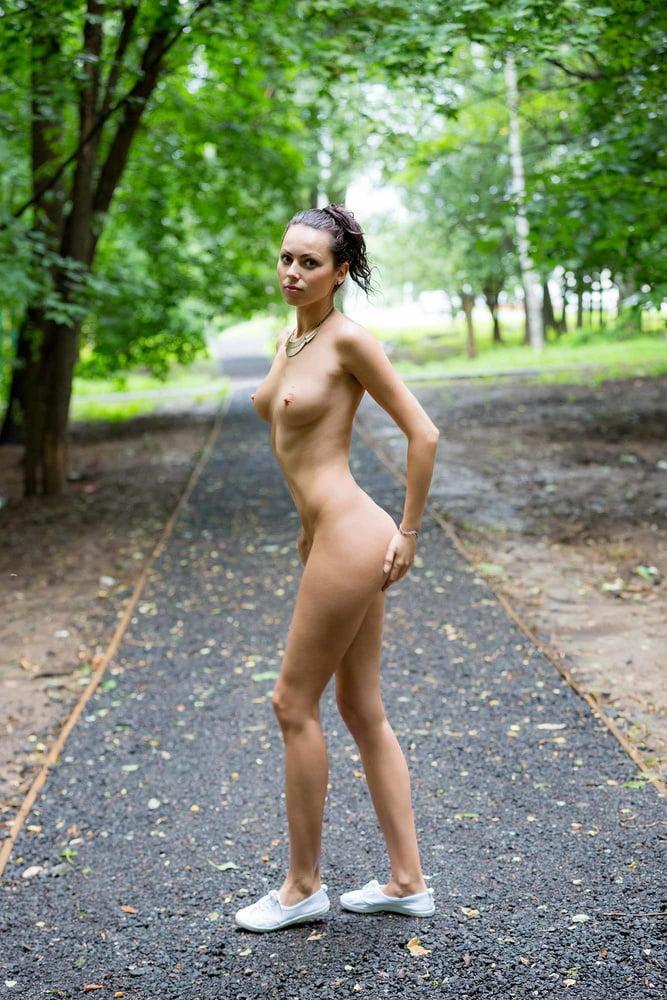 Naked girl walking around