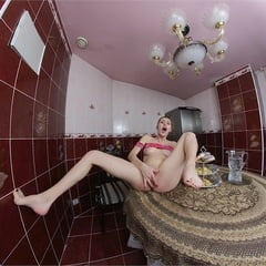 Lina Eats Donut And Masturbates In The Kitchen Vr180