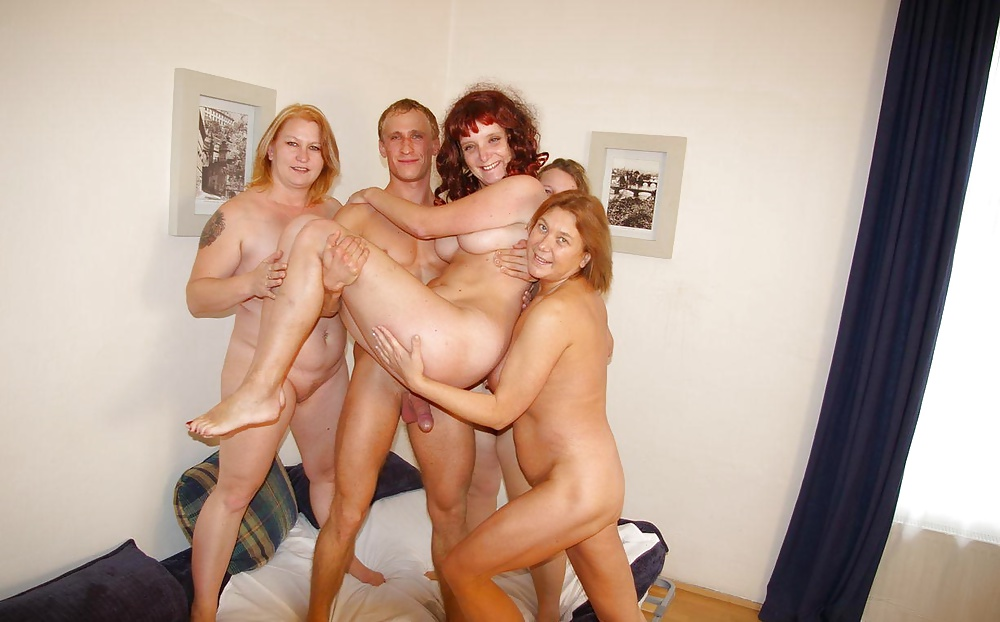 Lucky guy with three moms