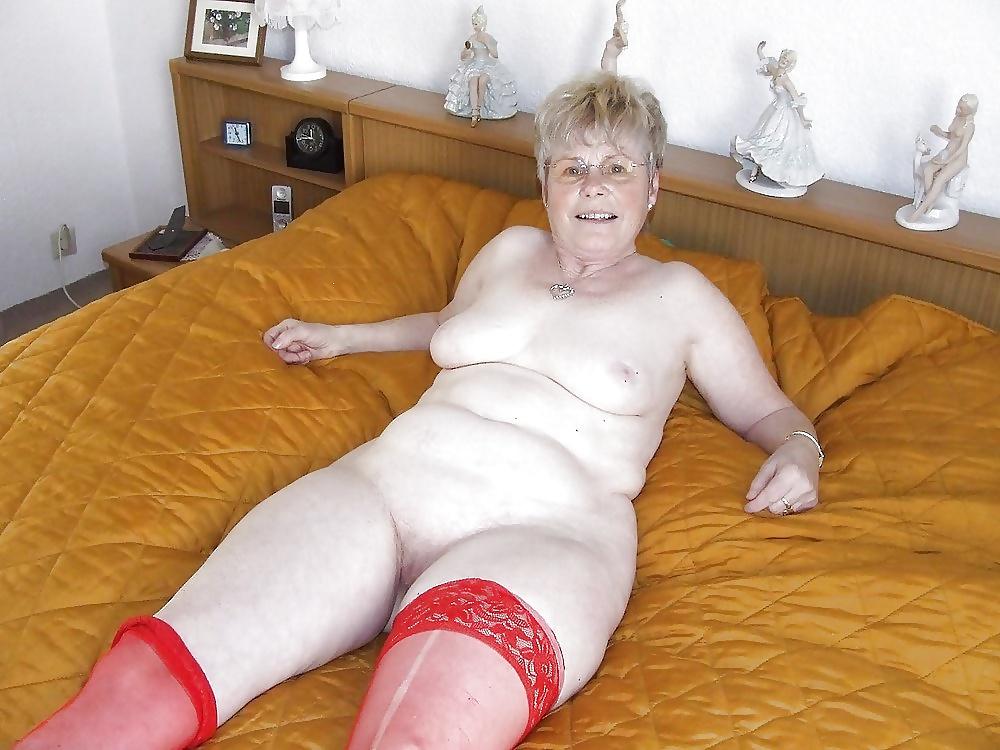 Short blonde granny nudist