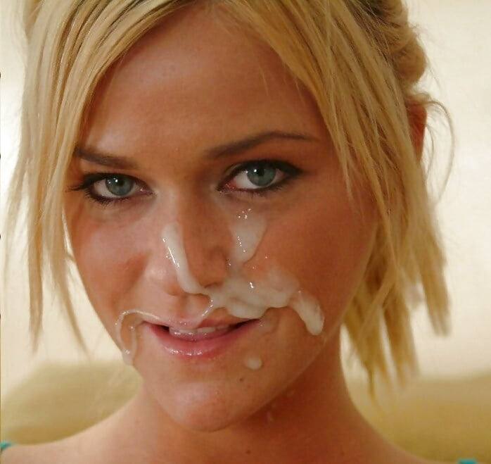 Hot girl with cum all over her face