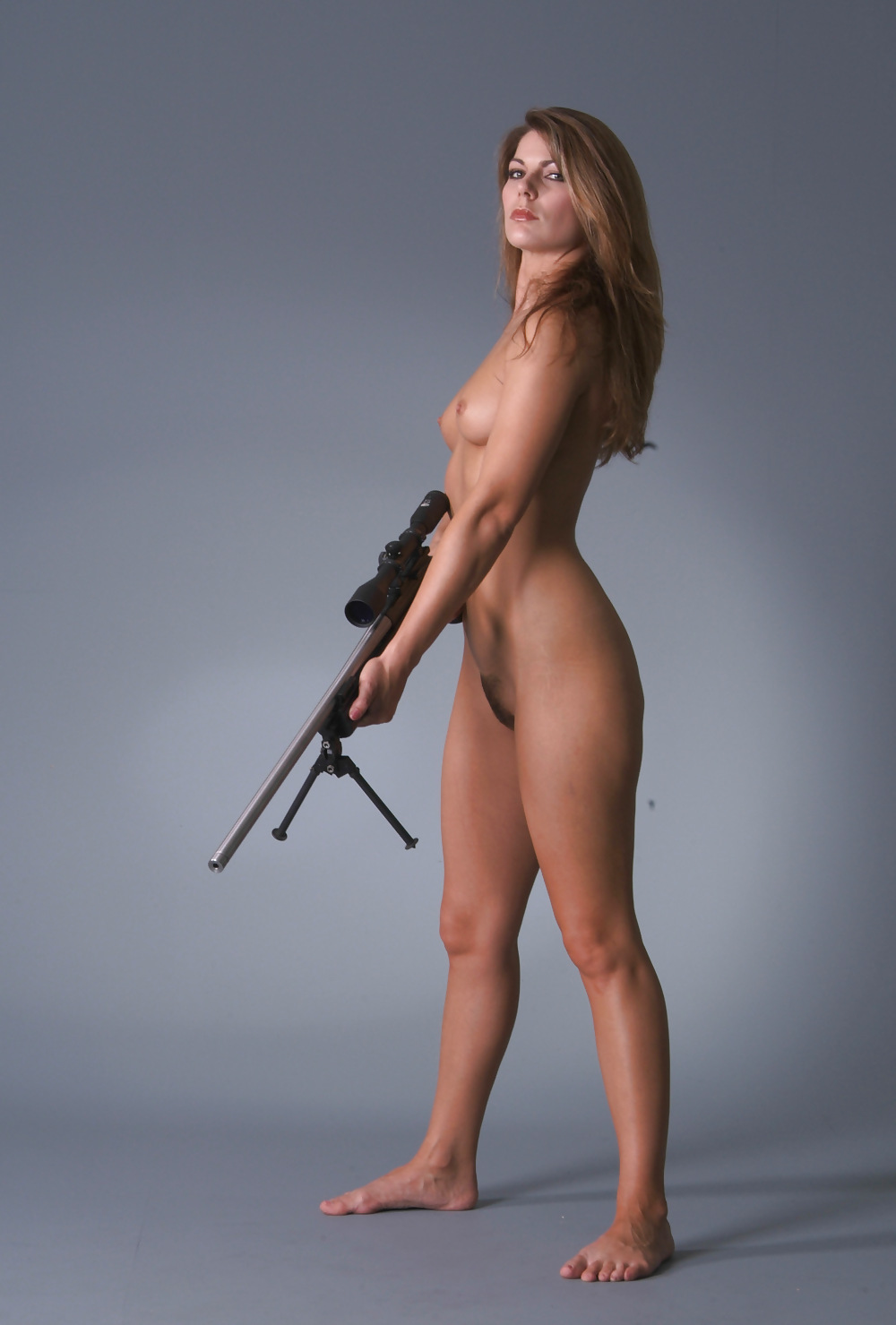 Consider, that nude girl with a gun can look