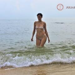 Part 5. Julia V Earth In White Bikini At The Beach.