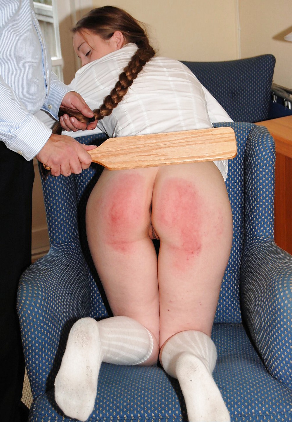 Brunette young girl thrashed with the tawse completely naked