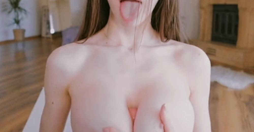 The bitch sucks a dildo and fucks him between boobs.- 27 Pics