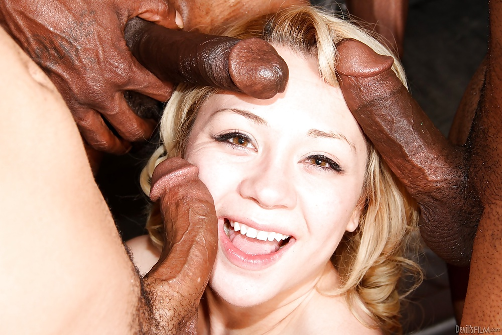 Dirty Bitch Barbie Double Penetrated While Sucking One More Big Black Cock 1