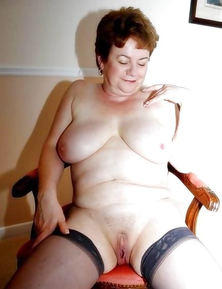 Granny big tits stockings