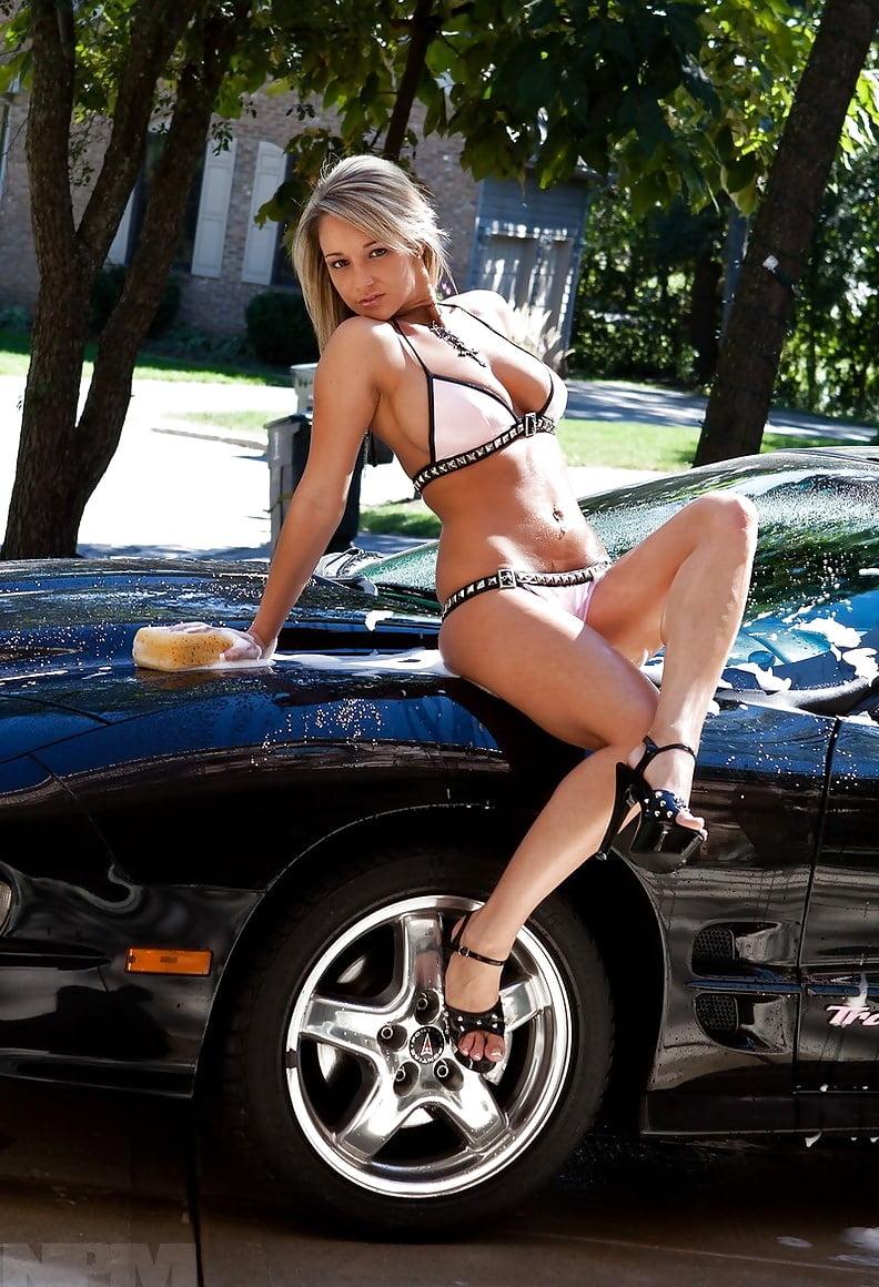 Sexy girls washing a car — pic 13