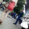 Girl in short red dress and high heels
