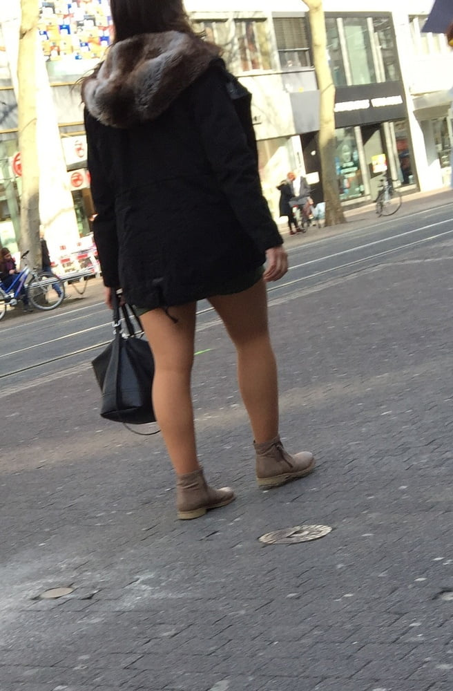 Gray tights brown boots