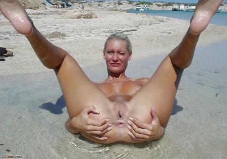 Wet tanned beach princess