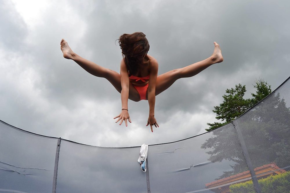 Keep Calm As Sexy Girl On Trampoline Poster