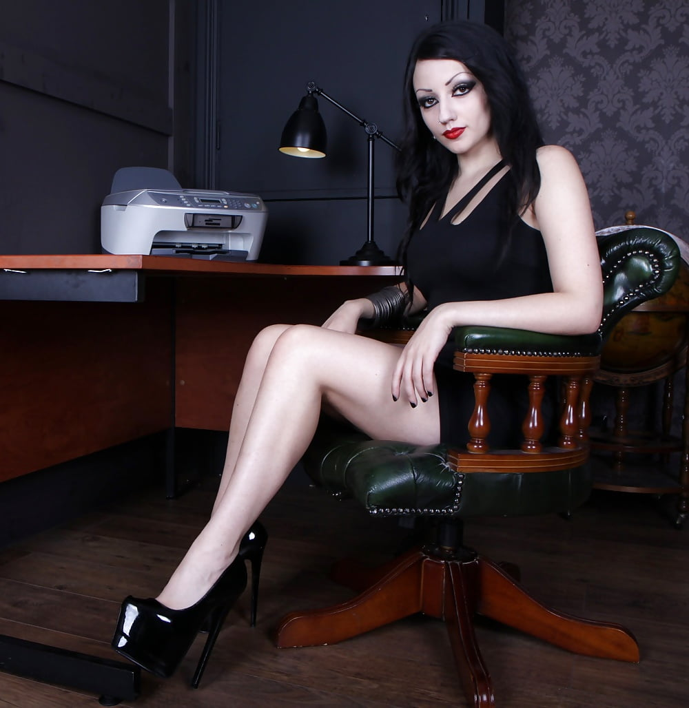 Black platform high heels-8393