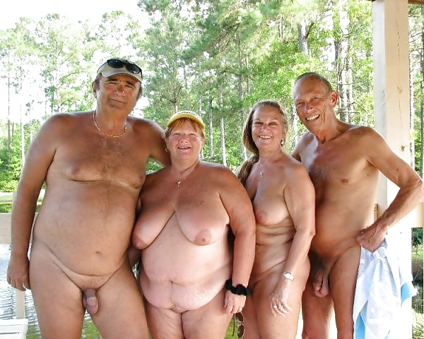 senior Old nudist couples mature
