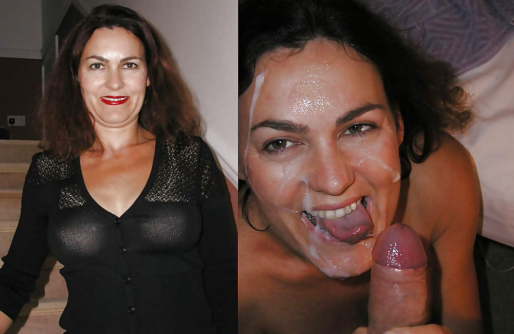 Before and after wife cum shot