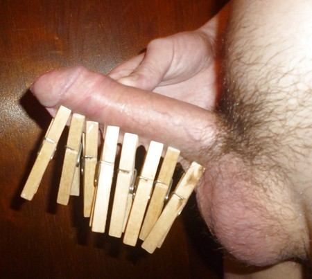 Clothespin on dick