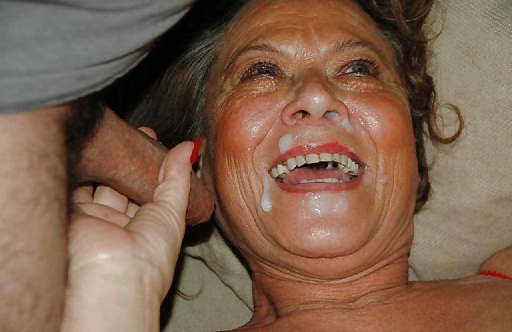 Cum on granny's face