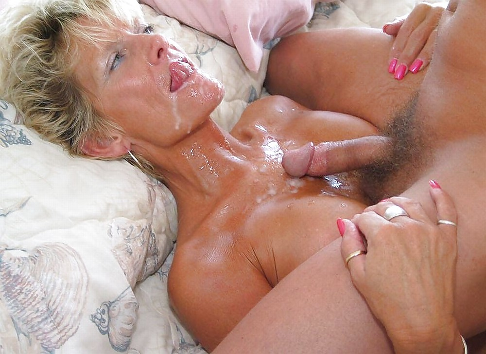 Mature rides the cock until he cums