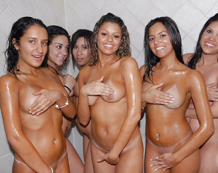 Busty Girls Group Shower