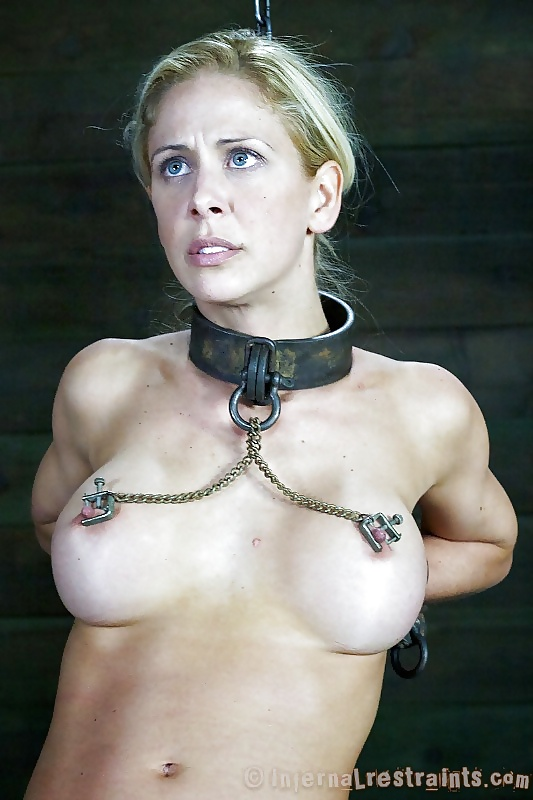Pouring out naked milf on a chain