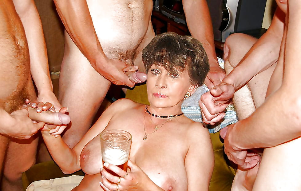 Grandma fucked and creampied in a gang bang