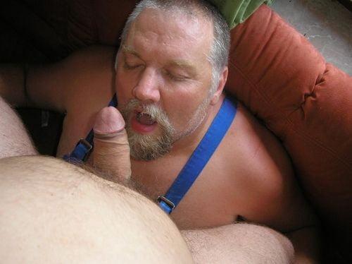 Chubby Bear Cub Sucking His Husband's Big Dick