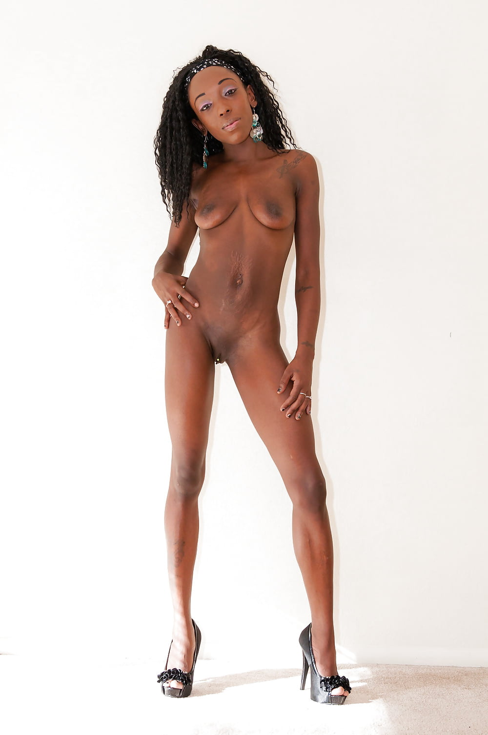 Black slim smile nude girl